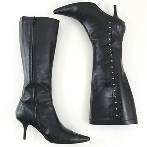 Michael Kors Tall Black Leather Studded Boot